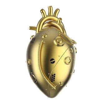3d-rendering gouden robotachtige hart geïsoleerd op wit