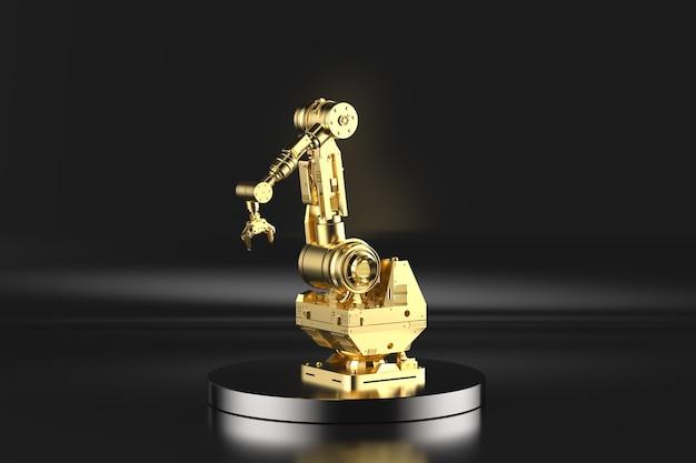 3d-rendering gouden robotarm op het podium met zwarte achtergrond