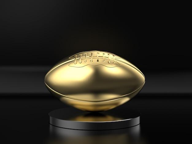 3d-rendering gouden rugbybal op zwarte achtergrond
