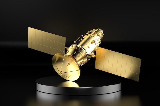 3d-rendering gouden satellietschotel op het podium met zwarte achtergrond