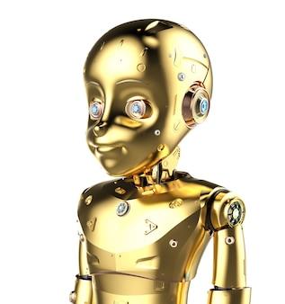 3d-rendering gouden schattige robot of kunstmatige intelligentie robot met stripfiguur geïsoleerd op een witte achtergrond