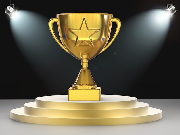 3d-rendering gouden ster trofee op het podium met glanzende lichten