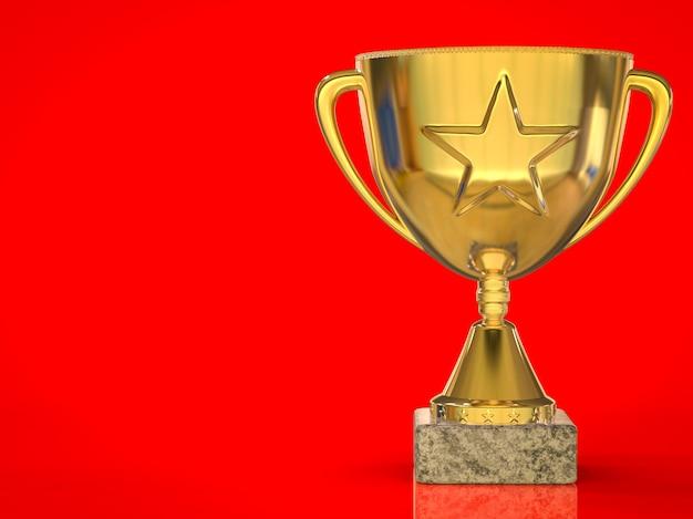 3d-rendering gouden ster trofee op rode achtergrond