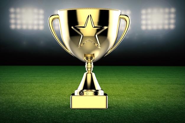 3d-rendering gouden ster trofee op voetbalveld achtergrond