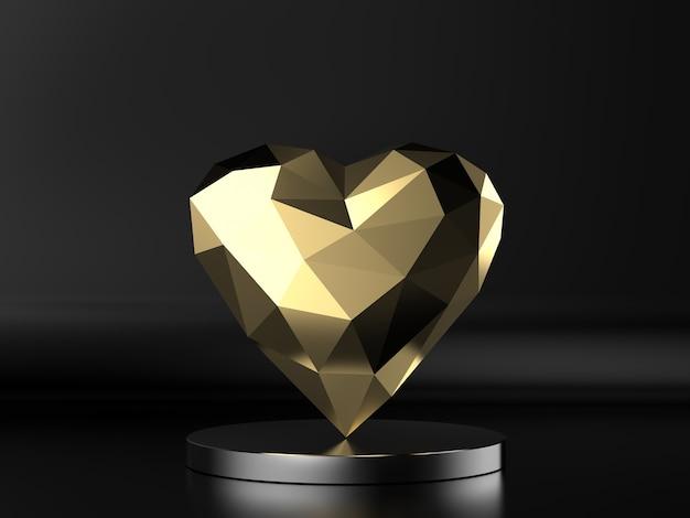 3d-rendering gouden veelhoekige hart op zwarte achtergrond