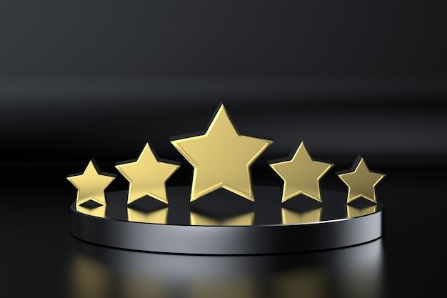 3d-rendering gouden vijf sterren op het podium met zwarte achtergrond