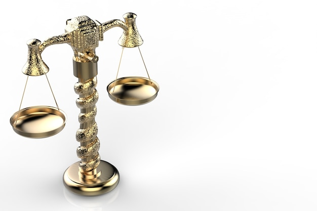 3d-rendering gouden wet schaal op witte achtergrond