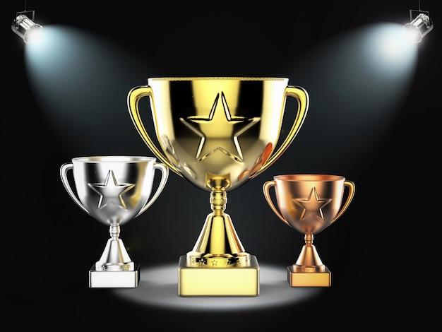 3d-rendering gouden, zilveren en bronzen trofee op het podium met glanzende lichten