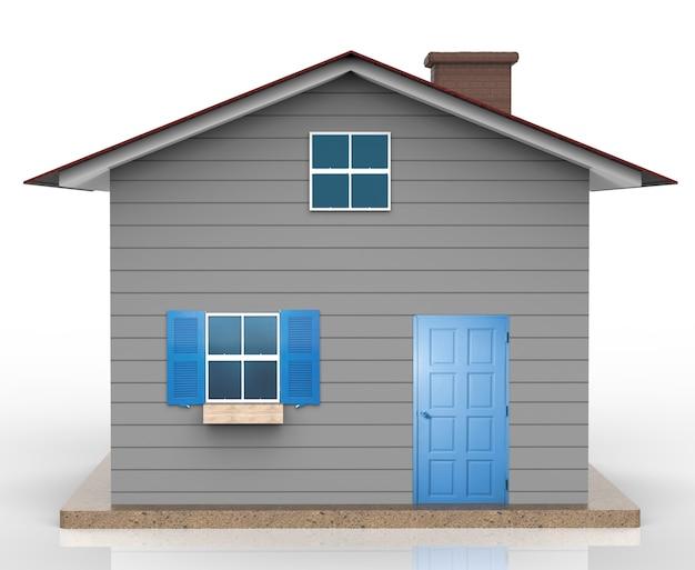 3d-rendering grijs huismodel met blauw raam en blauwe deur
