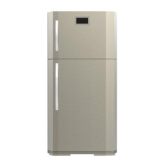 3d-rendering grijze nieuwe koelkast geïsoleerd op wit