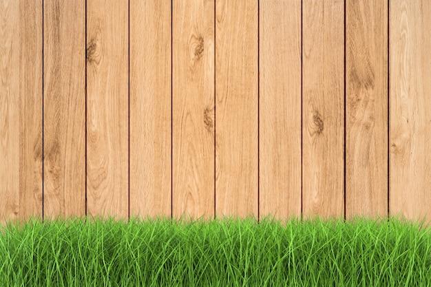 3d-rendering groen gras op houten achtergrond