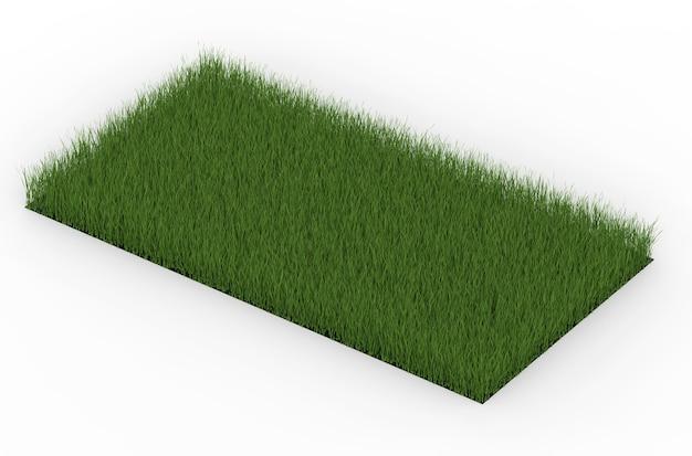 3d-rendering groen grasveld geïsoleerd op white