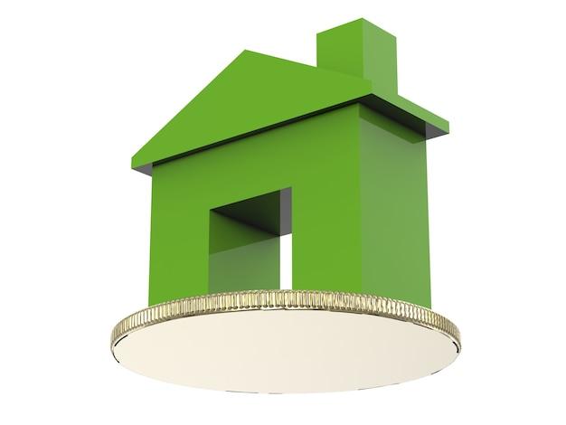 3d-rendering groen huismodel met gouden munt