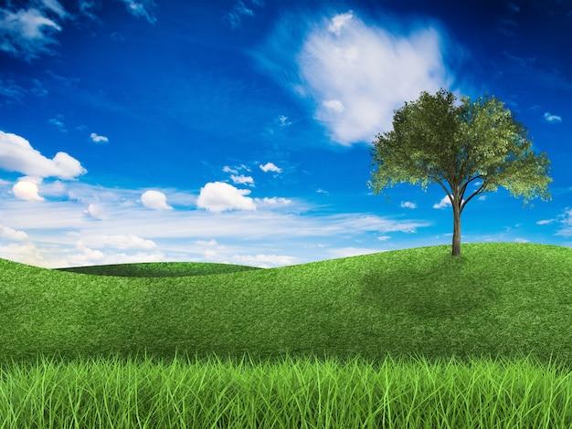 3d-rendering groen veld en blauwe lucht met boom