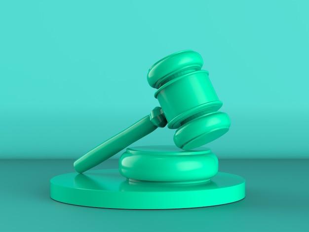 3d-rendering groene hamer rechter op groene achtergrond
