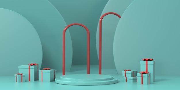 3d-rendering groene pastel podium voor product