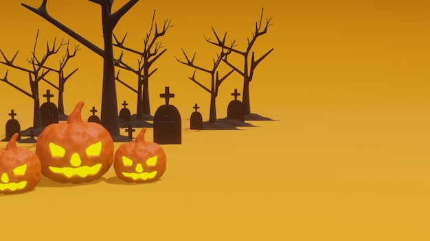 3d-rendering halloween-feest met pompoenen en graf op oranje