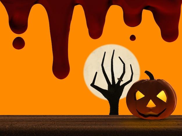 3d-rendering halloween pompoen en zombie hand stijgt