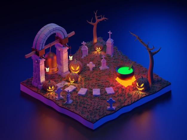 3d-rendering halloween scène isometrisch.