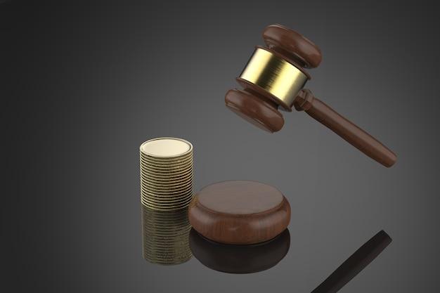 3d-rendering hamer rechter met stapel munten