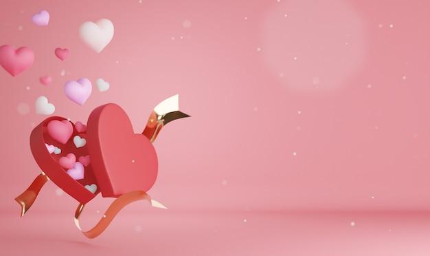3d-rendering hart en achtergrond voor valentijnsdag.