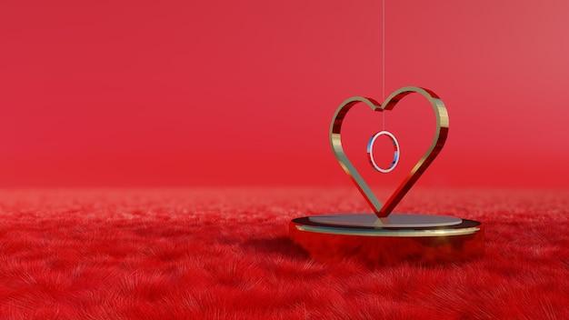 3d-rendering, hart met de ring, liefdesconcept