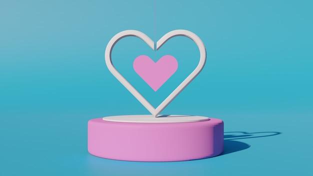 3d-rendering, hart muziekdoos, liefde concept