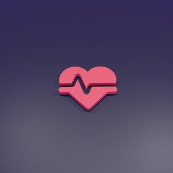 3d-rendering hart puls teken