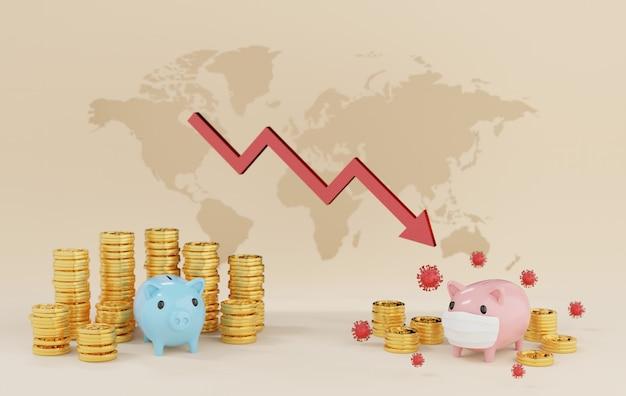 3d-rendering het concept van spaarvarken, geld en munten weerspiegelt de daling van de besparingen