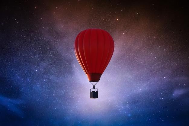 3d rendering hete luchtballon in sterrenhemel