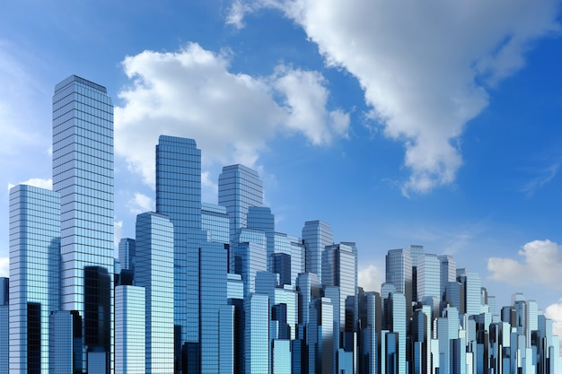 3d-rendering hoogbouw met blauwe hemelachtergrond