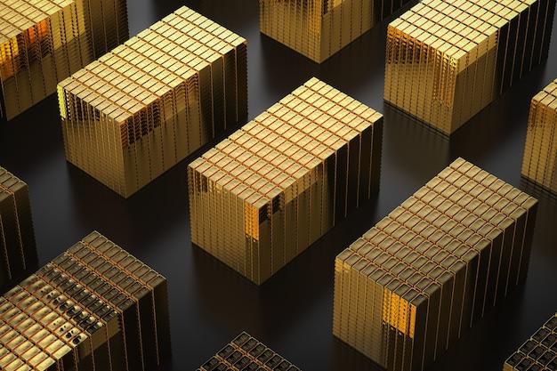 3d-rendering hoop goud glanzend edelmetaal