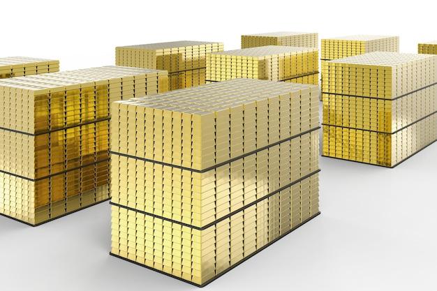 3d-rendering hoop van goud op witte achtergrond