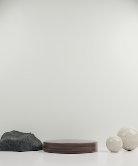 3d-rendering hout modern mockup podium en bol met witte achtergrond