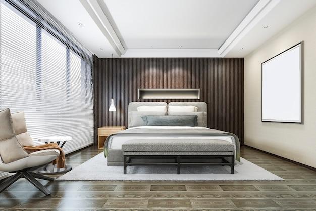 3d-rendering hout mooie loft minimale slaapkamer