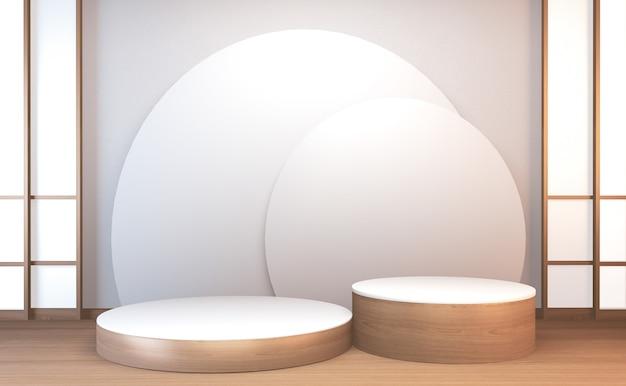 3d-rendering houten podium japan traditie voor showproduct.