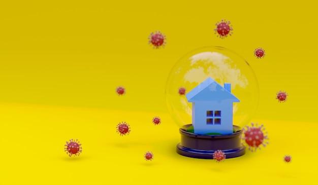 3d-rendering huis en molecuul van coronavirus op gele achtergrond