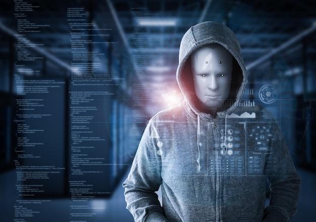 3d-rendering humanoïde robot als hacker in serverruimte