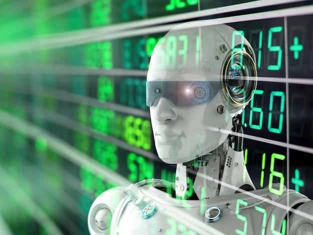 3d-rendering humanoïde robot analyseren aandelenmarkt