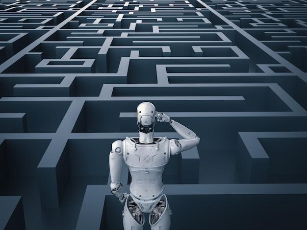 3d-rendering humanoïde robot analysisi in doolhof
