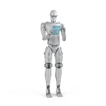3d-rendering humanoïde robot die werkt met digitale tablet