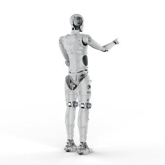3d-rendering humanoïde robot vinger punt op witte achtergrond