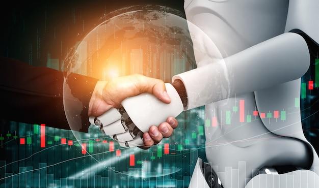 3d-rendering humanoïde robothanddruk met beurshandelgrafiek