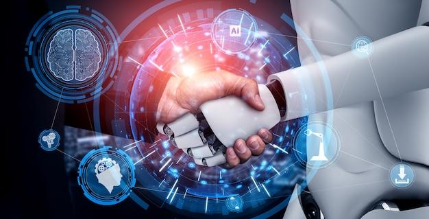 3d-rendering humanoïde robothanddruk om samen te werken aan toekomstige technologie