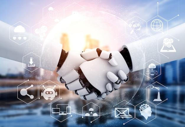 3d-rendering humanoïde robothanddruk om samen te werken met toekomstige technologie