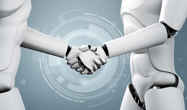 3d-rendering humanoïde robothanddruk om toekomstige technologie samen te werken