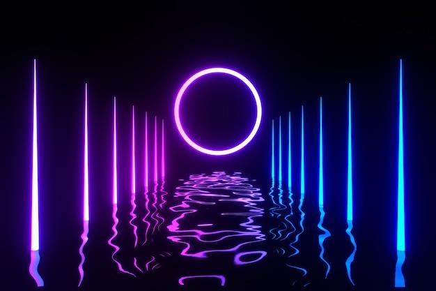 3d-rendering illustratie. futuristische moderne rij neonlicht paars vervagen als gang en lichtcirkel gloed ruimte wallpaper achtergrond wallpaper