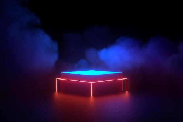 3d rendering illustratie. futuristische sci fi donkere lege kamer met gloeiende neon.