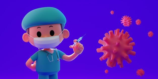 3d-rendering illustratie van een arts met medisch masker