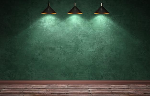 3d-rendering illustratie van grote moderne kamer met groene gips muur
